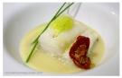 Bacalao con salsa de cava y aire de guindillas verdes