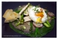 verduras, tofu y huevo poché